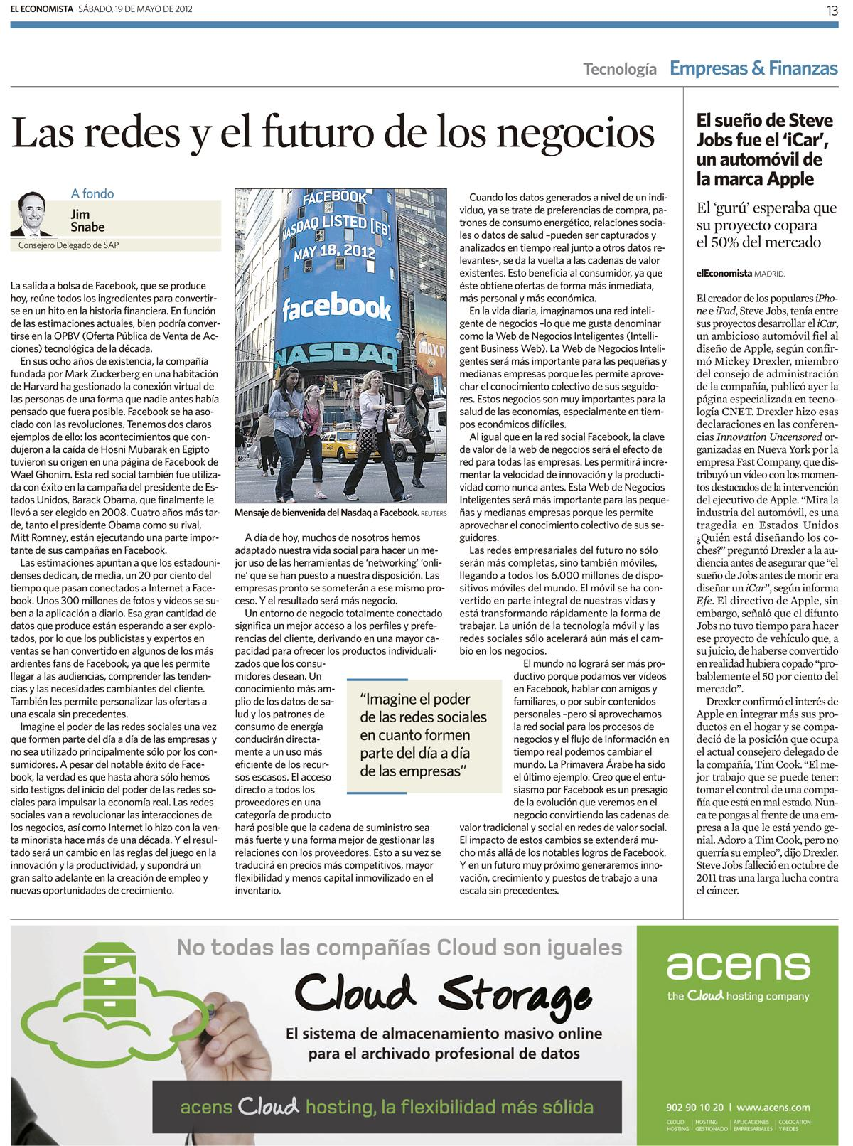 El Economista 19 de mayo 2012 - blog acens the cloud hosting company